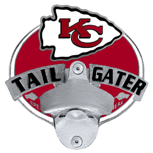 NFL Tailgater Hitch Cover -Kansas City Chiefs - Our tailgater hitch cover   features a functional bottle opener and team emblem with enameled finish. Officially licensed NFL product Licensee: Siskiyou Buckle Thank you for visiting CrazedOutSports.com