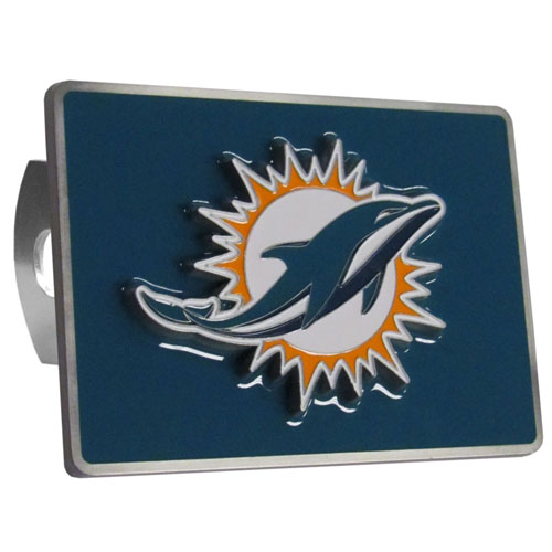 NFL Trailer Hitch LG - Miami Dolphins - Our NFL Trailer Hitch Cover is hand painted with 3-D carved Miami Dolphins logo. Hardware included. Enameled on durable, rust-proof zinc. Fits Class II and Class III hitches. Check out our extensive line of  automotive accessories! Officially licensed NFL product Licensee: Siskiyou Buckle .com
