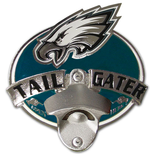 NFL Tailgater Hitch Cover -Philadelphia Eagles - Our tailgater hitch cover   features a functional bottle opener and team emblem with enameled finish. Officially licensed NFL product Licensee: Siskiyou Buckle .com