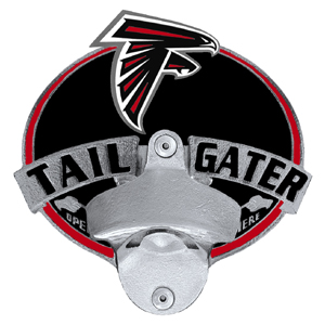 NFL Tailgater Hitch Cover -Atlanta Falcons - Our tailgater hitch cover   features a functional bottle opener and team emblem with enameled finish. Officially licensed NFL product Licensee: Siskiyou Buckle .com