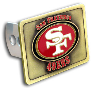 NFL Trailer Hitch LG - San Francisco 49ers - Our NFL Trailer Hitch Cover is hand painted with 3-D carved logo. Hardware included. Enameled on durable, rust-proof zinc. Fits Class II and Class III hitches. Check out our extensive line of  automotive accessories! Officially licensed NFL product Licensee: Siskiyou Buckle .com