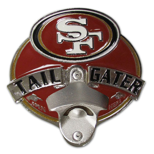 NFL Tailgater Hitch Cover -San Francisco 49ers - Our tailgater hitch cover   features a functional bottle opener and team emblem with enameled finish. Officially licensed NFL product Licensee: Siskiyou Buckle .com