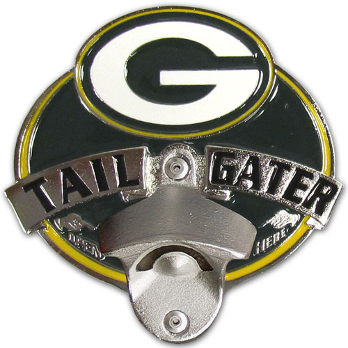 NFL Tailgater Hitch Cover -Green Bay Packers - Our tailgater hitch cover   features a functional bottle opener and team emblem with enameled finish. Officially licensed NFL product Licensee: Siskiyou Buckle Thank you for visiting CrazedOutSports.com