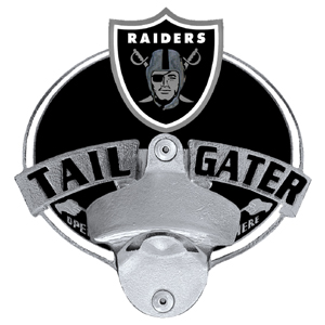 NFL Tailgater Hitch Cover -Oakland Raiders - Our tailgater hitch cover   features a functional bottle opener and team emblem with enameled finish. Officially licensed NFL product Licensee: Siskiyou Buckle Thank you for visiting CrazedOutSports.com