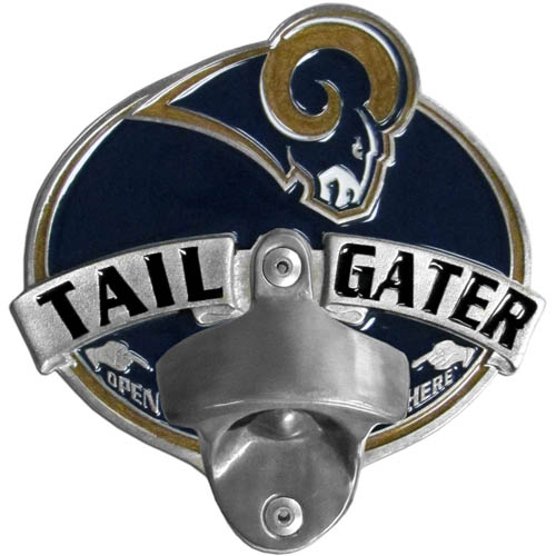 NFL Tailgater Hitch Cover -St. Louis Rams - Our tailgater hitch cover   features a functional bottle opener and team emblem with enameled finish. Officially licensed NFL product Licensee: Siskiyou Buckle .com
