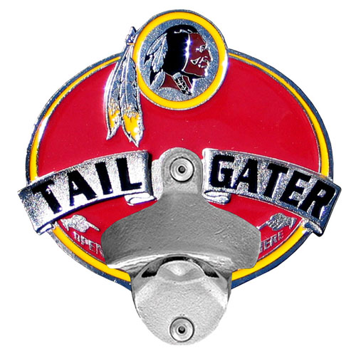 NFL Tailgater Hitch Cover -Washington Redskins - Our tailgater hitch cover   features a functional bottle opener and team emblem with enameled finish. Officially licensed NFL product Licensee: Siskiyou Buckle Thank you for visiting CrazedOutSports.com