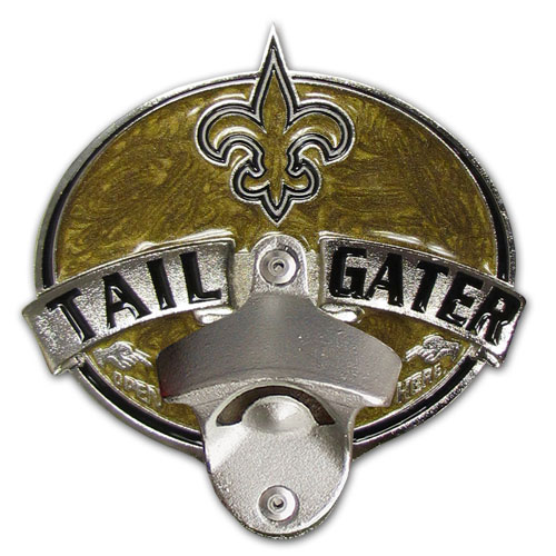 NFL Tailgater Hitch Cover -New Orleans Saints - Our tailgater hitch cover   features a functional bottle opener and team emblem with enameled finish. Officially licensed NFL product Licensee: Siskiyou Buckle Thank you for visiting CrazedOutSports.com