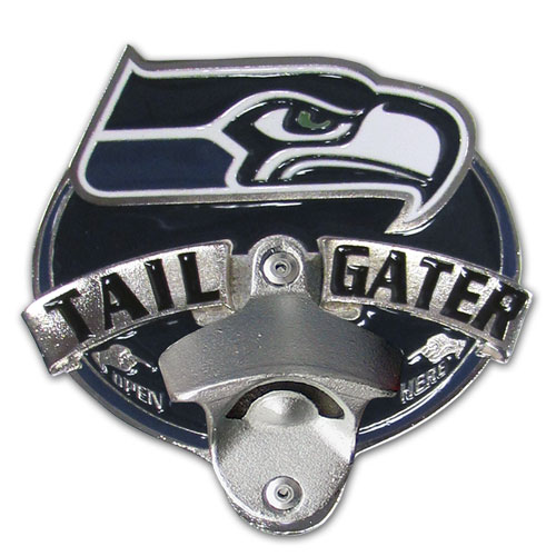 NFL Tailgater Hitch Cover -Seattle Seahawks - Our tailgater hitch cover   features a functional bottle opener and team emblem with enameled finish. Officially licensed NFL product Licensee: Siskiyou Buckle .com
