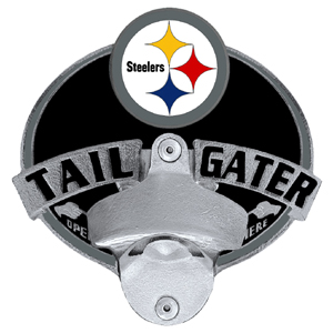 NFL Tailgater Hitch Cover -Pittsburgh Steelers - Our tailgater hitch cover   features a functional bottle opener and team emblem with enameled finish. Officially licensed NFL product Licensee: Siskiyou Buckle .com