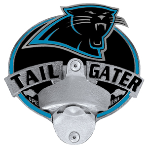NFL Tailgater Hitch Cover -Carolina Panthers - Our tailgater hitch cover   features a functional bottle opener and team emblem with enameled finish. Officially licensed NFL product Licensee: Siskiyou Buckle Thank you for visiting CrazedOutSports.com