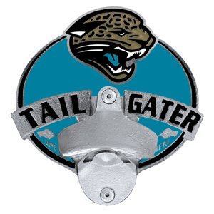 NFL Tailgater Hitch Cover -Jacksonville Jaguars - Our tailgater hitch cover   features a functional bottle opener and team emblem with enameled finish. Officially licensed NFL product Licensee: Siskiyou Buckle Thank you for visiting CrazedOutSports.com