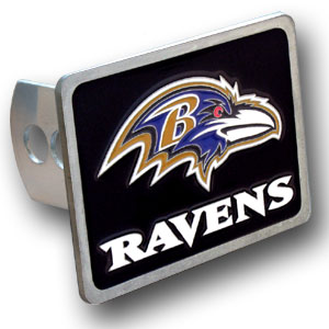 NFL Trailer Hitch LG - Baltimore Ravens - Our NFL Trailer Hitch Cover is hand painted with 3-D carved logo. Hardware included. Enameled on durable, rust-proof zinc. Fits Class II and Class III hitches. Check out our extensive line of  automotive accessories! Officially licensed NFL product Licensee: Siskiyou Buckle .com