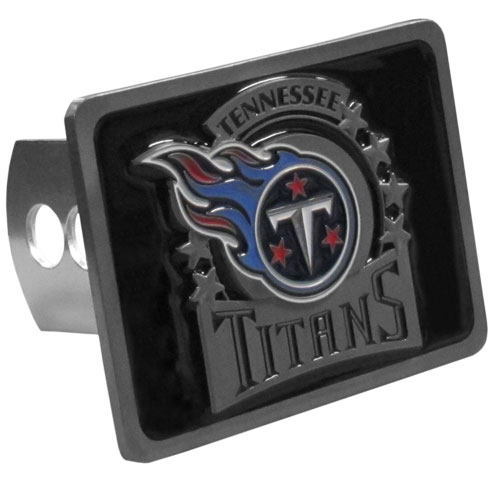 NFL Trailer Hitch LG - Tennessee Titans - Our NFL Trailer Hitch Cover is hand painted with 3-D carved logo. Hardware included. Enameled on durable, rust-proof zinc. Fits Class II and Class III hitches. Check out our extensive line of  automotive accessories! Officially licensed NFL product Licensee: Siskiyou Buckle .com