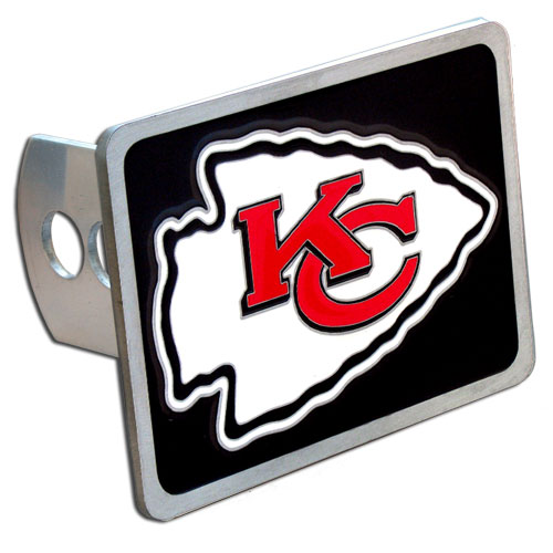 NFL Trailer Hitch - Kansas City Chiefs - Our NFL Trailer Hitch Cover is hand painted with 3-D carved logo. Hardware included. Enameled on durable, rust-proof zinc. Fits Class II and Class III hitches. Check out our extensive line of  automotive accessories! Officially licensed NFL product Licensee: Siskiyou Buckle Thank you for visiting CrazedOutSports.com