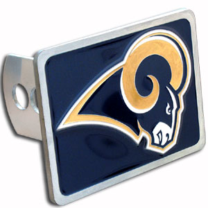 NFL Trailer Hitch - St. Louis Rams - Our NFL Trailer Hitch Cover is hand painted with 3-D carved logo. Hardware included. Enameled on durable, rust-proof zinc. Fits Class II and Class III hitches. Check out our extensive line of  automotive accessories! Officially licensed NFL product Licensee: Siskiyou Buckle .com