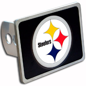 NFL Trailer Hitch - Pittsburgh Steelers - Our popular NFL trailer hitch cover line is now made in zinc for Washington Redskins faithful. Colorful, 3-D design gets them noticed at pre-game tailgating or in bumper-to-bumper traffic. Non-corrosive and durable zinc construction. For Class II and Class III. Officially licensed NFL product Licensee: Siskiyou Buckle .com
