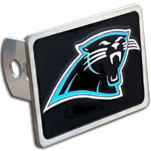 NFL Trailer Hitch - Carolina Panthers - Our popular NFL trailer hitch cover line is now made in zinc for Washington Redskins faithful. Colorful, 3-D design gets them noticed at pre-game tailgating or in bumper-to-bumper traffic. Non-corrosive and durable zinc construction. For Class II and Class III. Officially licensed NFL product Licensee: Siskiyou Buckle .com