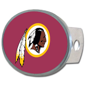 Washington Redskins Oval Metal Hitch Cover Class II and III - This economical hitch cover has a full metal backing and features a lacquered Washington Redskins logo. The kit includes metal plugs, screws and bracket.