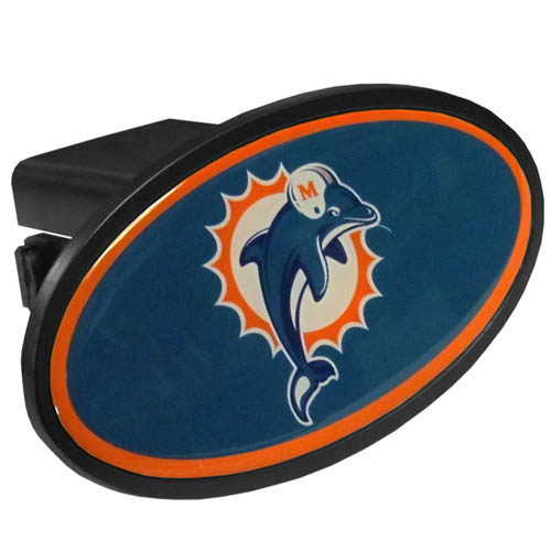 Miami Dolphins Plastic Hitch Cover - Officially licensed NFL plastic hitch cover with team logo design. Fits class III hitch receivers. Officially licensed NFL product Licensee: Siskiyou Buckle .com
