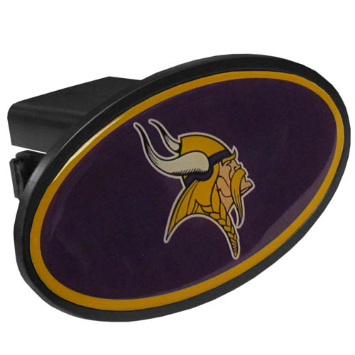 Minnesota Vikings Plastic Hitch Cover - Officially licensed NFL plastic hitch cover with team logo design. Fits class III hitch receivers. Officially licensed NFL product Licensee: Siskiyou Buckle .com