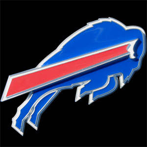 NFL Logo-Cut Hitch Cover - Buffalo Bills - Show off your team pride with our logo-only hitch cover. The oversized logo is carved in detail and enameled in team colors. Available for Class II and Class III Hitches (plugs included) and easy to install.  Officially licensed NFL product Licensee: Siskiyou Buckle .com