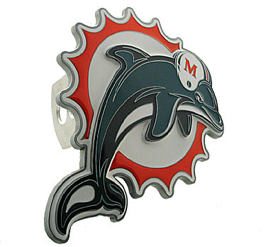 NFL Logo-Cut Hitch Cover - Miami Dolphins - Show off your team pride with our logo-only hitch cover. The oversized logo is carved in detail and enameled in team colors. Available for Class II and Class III Hitches (plugs included) and easy to install.  Officially licensed NFL product Licensee: Siskiyou Buckle Thank you for visiting CrazedOutSports.com