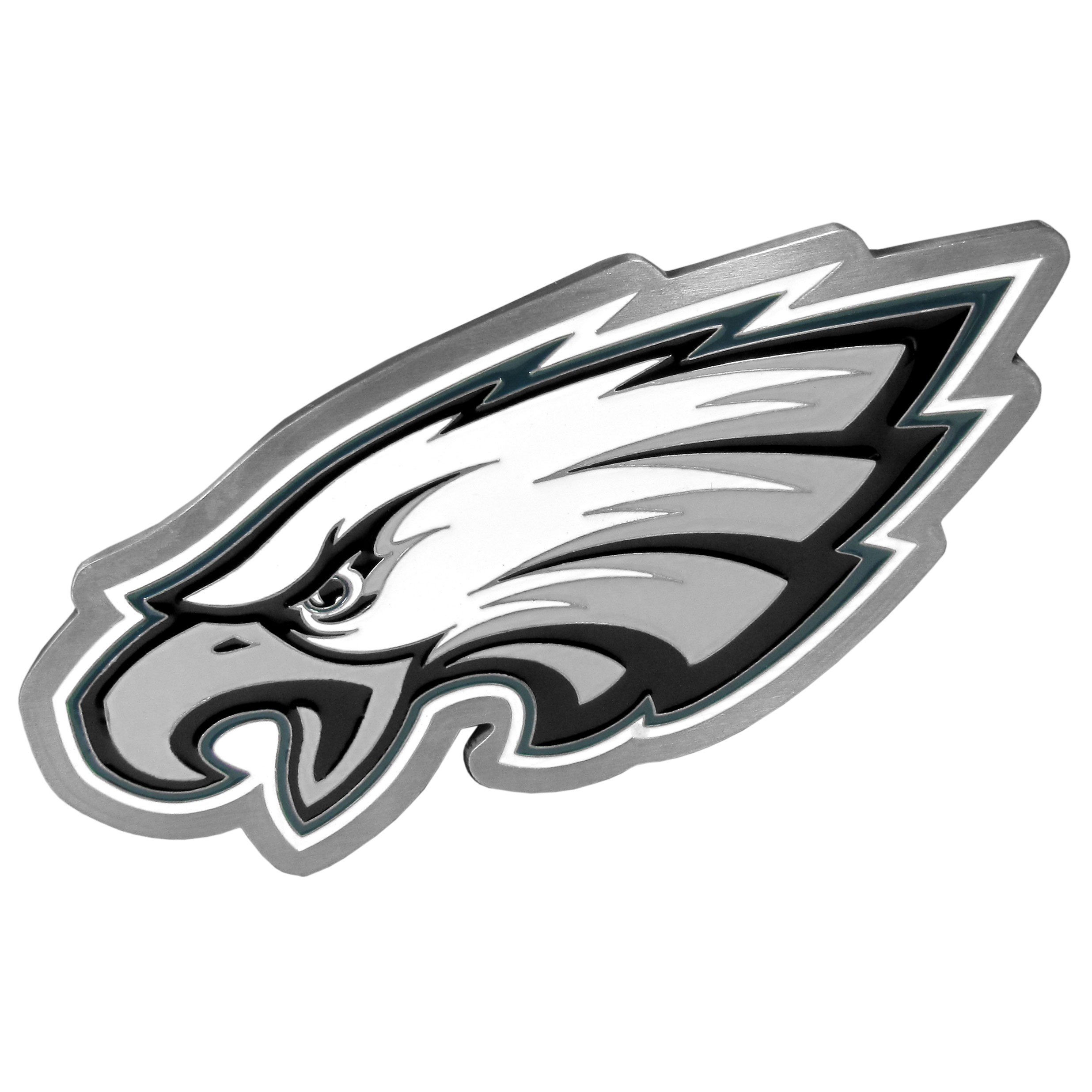 Philadelphia Eagles Large Hitch Cover Class II and Class III Metal Plugs - Whether you're driving in rival territory, or caravanning to the game, show your Philadelphia Eagles pride with our high-quality logo hitch covers. These are the highest quality hitch covers on the market. The plates are solid metal and are over 1/4 inch thick with deeply cast detail with an expertly enameled finish. The extra large hitch plate comes with a kit for Class II and Class III hitch receivers and includes: full metal plugs, screws and bracket.