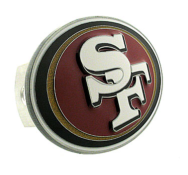 NFL Logo-Cut Hitch Cover - San Francisco 49ers - Show off your team pride with our logo-only hitch cover. The oversized logo is carved in detail and enameled in team colors. Available for Class II and Class III Hitches (plugs included) and easy to install.  Officially licensed NFL product Licensee: Siskiyou Buckle .com