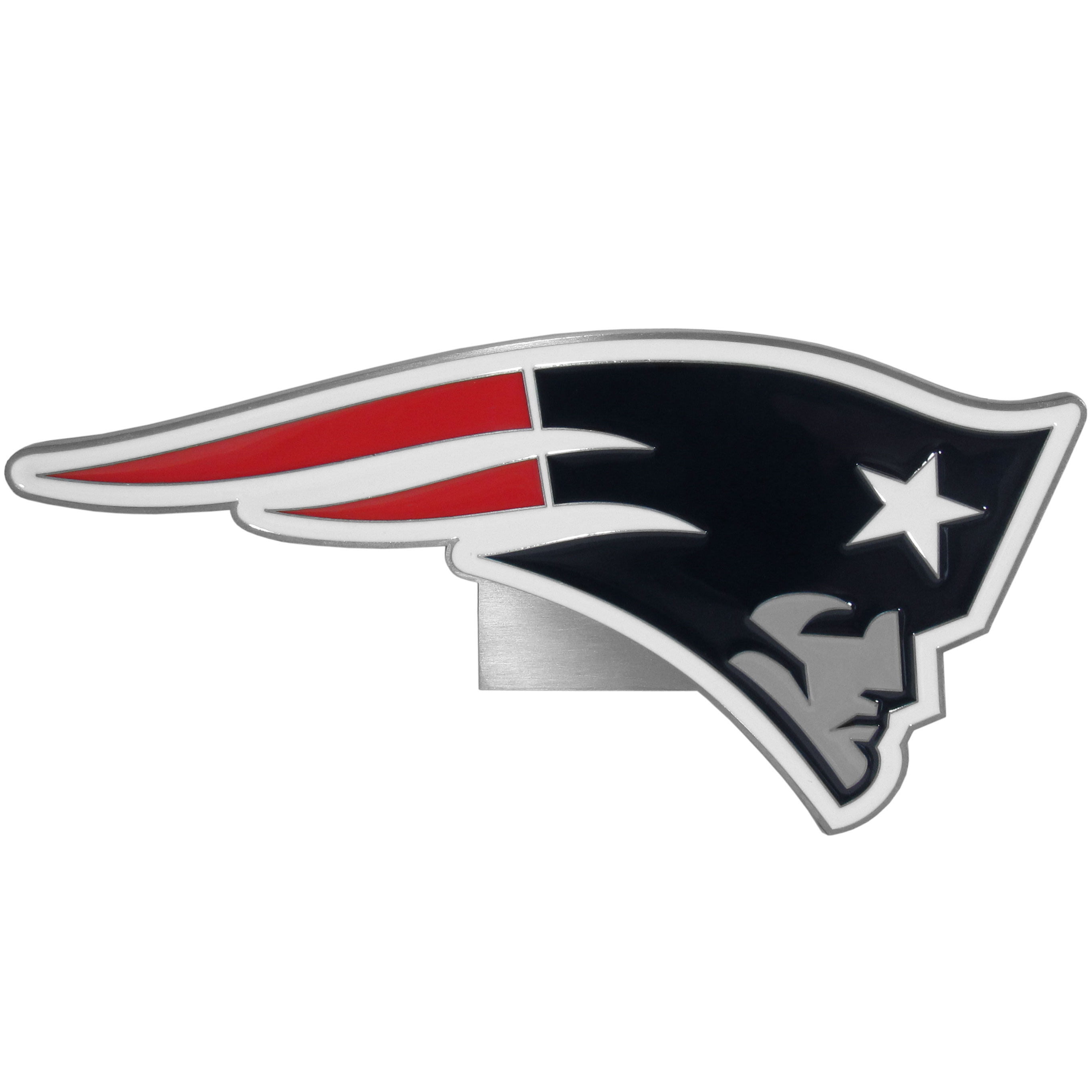 New England Patriots Large Hitch Cover Class II and Class III Metal Plugs - Whether you're driving in rival territory, or caravanning to the game, show your New England Patriots pride with our high-quality logo hitch covers. These are the highest quality hitch covers on the market. The plates are solid metal and are over 1/4 inch thick with deeply cast detail with an expertly enameled finish. The extra large hitch plate comes with a kit for Class II and Class III hitch receivers and includes: full metal plugs, screws and bracket.