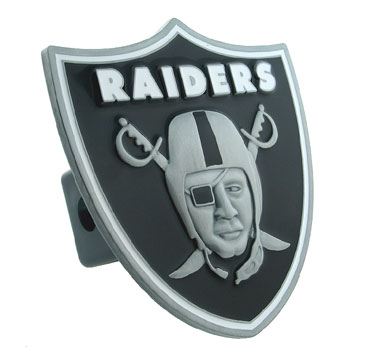 NFL Logo-Cut Hitch Cover - Oakland Raiders - Show off your team pride with our logo-only hitch cover. The oversized logo is carved in detail and enameled in team colors. Available for Class II and Class III Hitches (plugs included) and easy to install.  Officially licensed NFL product Licensee: Siskiyou Buckle Thank you for visiting CrazedOutSports.com