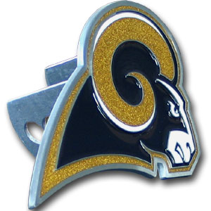 NFL Logo-Cut Hitch Cover - St. Louis Rams - Show off your team pride with our logo-only hitch cover. The oversized logo is carved in detail and enameled in team colors. Available for Class II and Class III Hitches (plugs included) and easy to install.  Officially licensed NFL product Licensee: Siskiyou Buckle .com