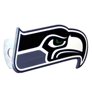 NFL Logo-Cut Hitch Cover - Seattle Seahawks - Show off your team pride with our logo-only hitch cover. The oversized logo is carved in detail and enameled in team colors. Available for Class II and Class III Hitches (plugs included) and easy to install.  Officially licensed NFL product Licensee: Siskiyou Buckle .com