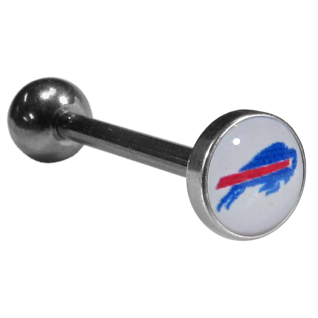 Buffalo Bills Inlaid Barbell Tongue Ring - Show off your team pride with our officially licensed Buffalo Bills  tongue ring. The 1 inch barbell features a photo epoxy inlay logo.