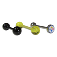 Pittsburgh Steelers 3 pk Tongue Rings - Need a little variety in your life? Our 3 pack tongue ring set allows you to choose just how you want to support your team. The set includes 1 translucent team colored barbell, 1 metalic team colored barbell and one with a Pittsburgh Steelers Officially licensed NFL product Licensee: Siskiyou Buckle .com