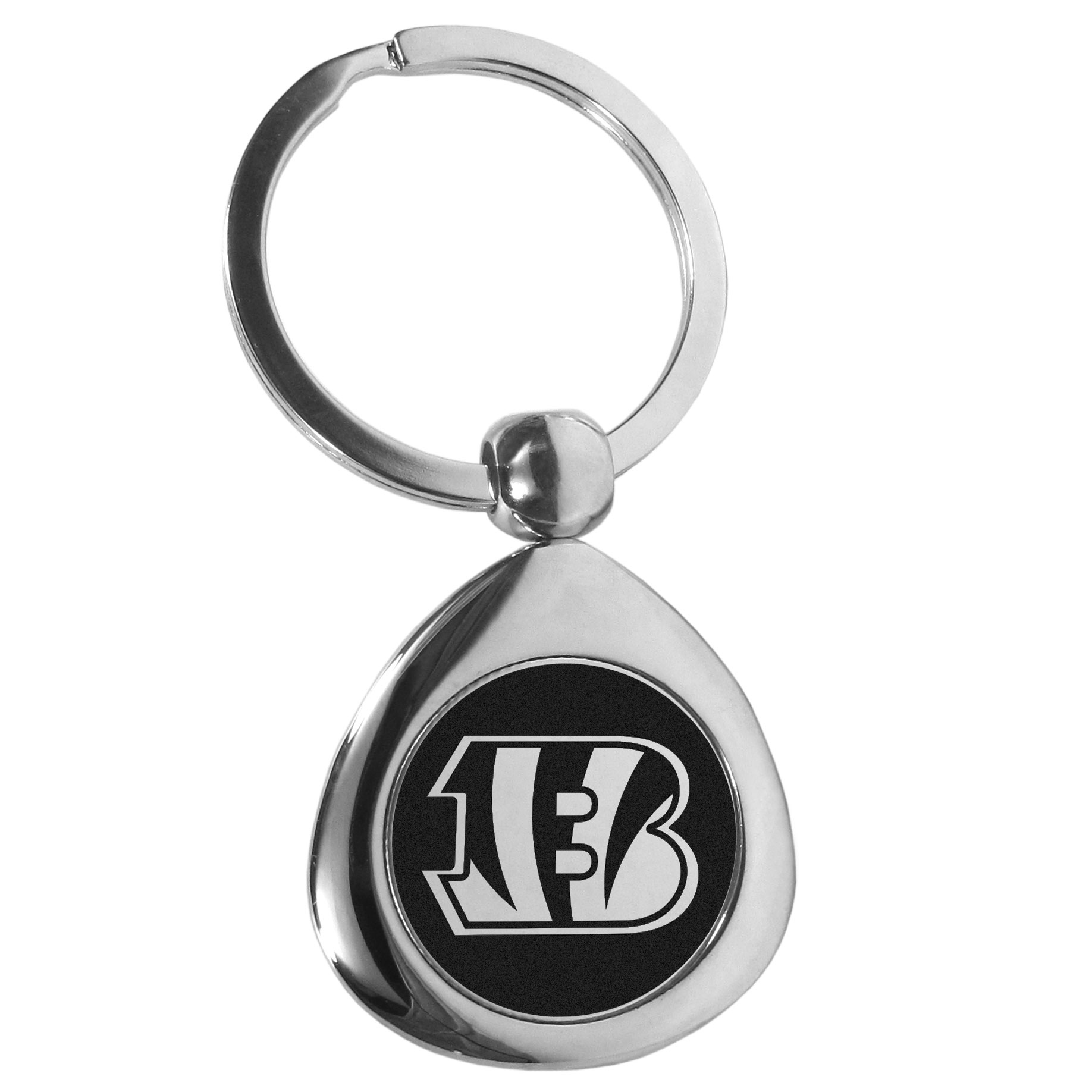 Cincinnati Bengals Round Teardrop Key Chain - Our high polish chrome Cincinnati Bengals round teardrop key chain has a classy look with a sporty twist. The high-quality key fob features the team logo in the team's primary color. The key ring is a flat split ring that is easier to load you home and auto keys onto.