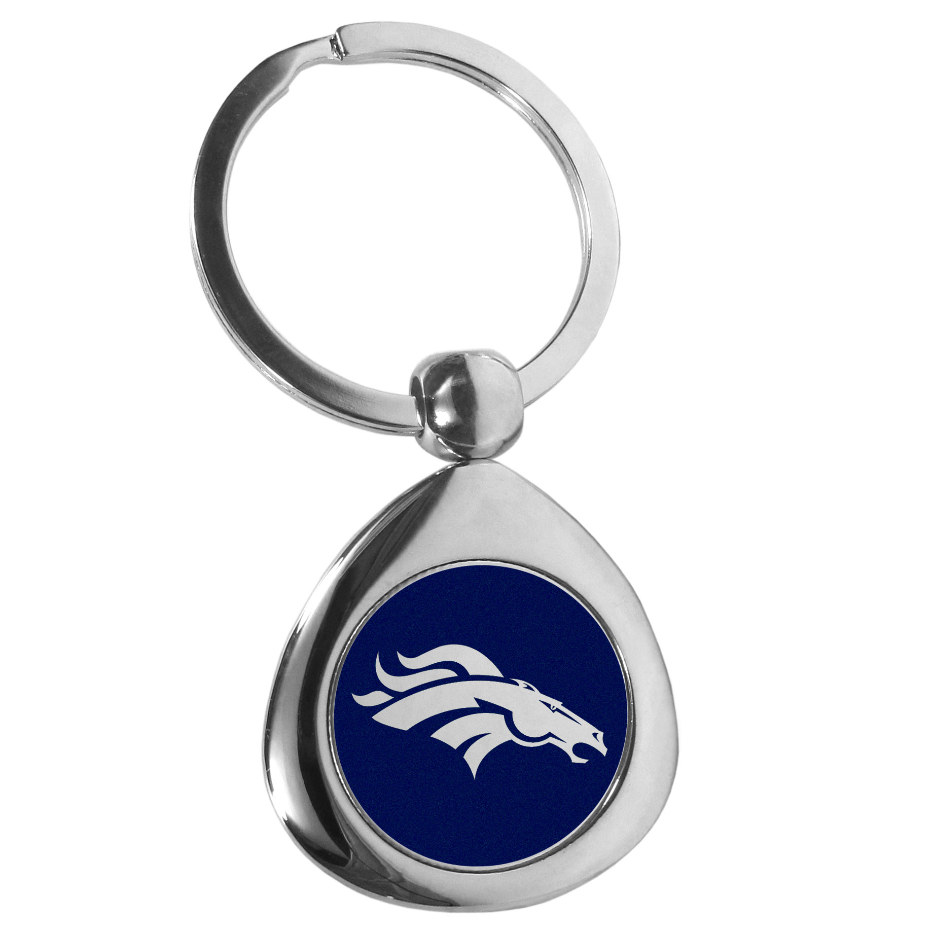 Denver Broncos Round Teardrop Key Chain - Our high polish chrome Denver Broncos round teardrop key chain has a classy look with a sporty twist. The high-quality key fob features the team logo in the team's primary color. The key ring is a flat split ring that is easier to load you home and auto keys onto.