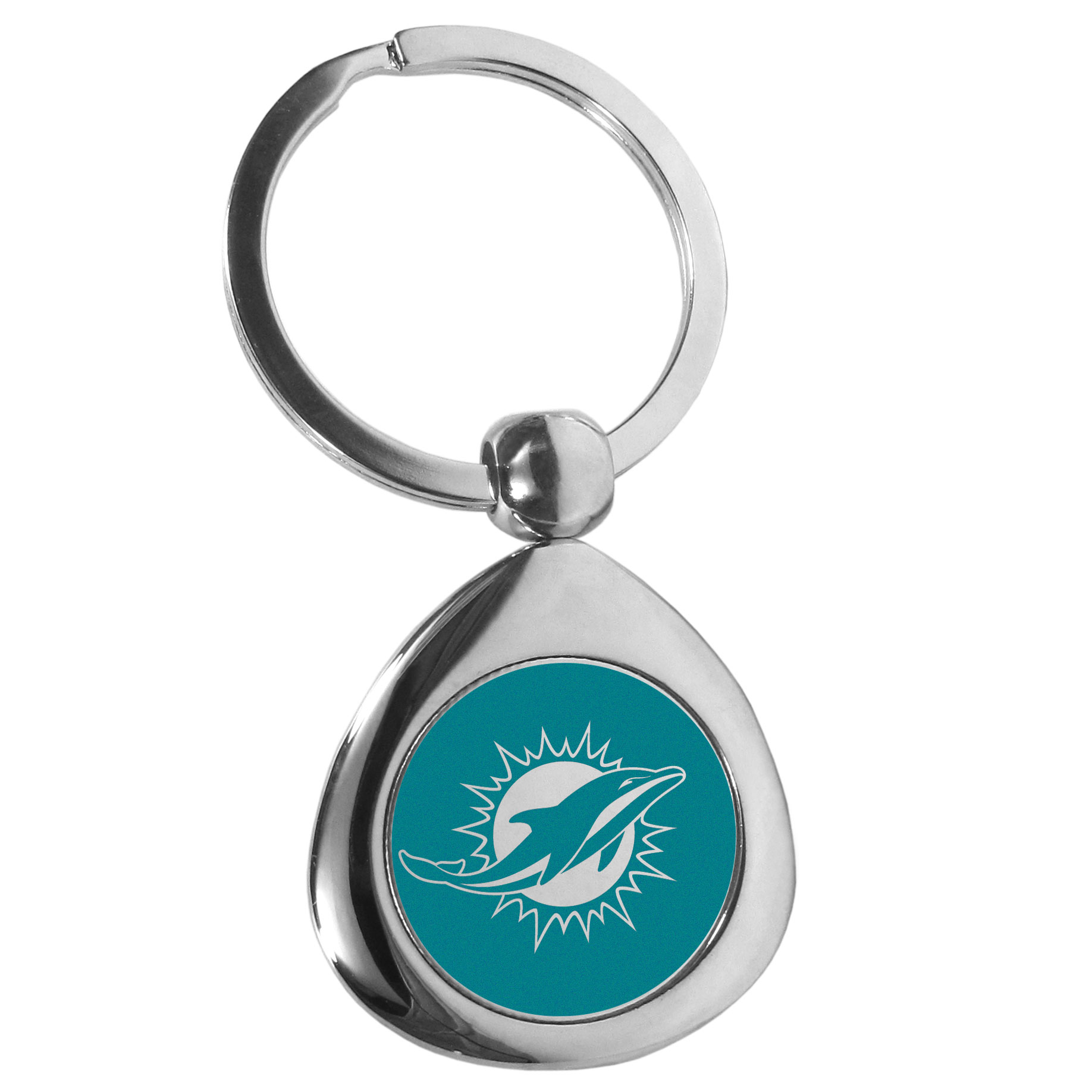 Miami Dolphins Round Teardrop Key Chain - Our high polish chrome Miami Dolphins round teardrop key chain has a classy look with a sporty twist. The high-quality key fob features the team logo in the team's primary color. The key ring is a flat split ring that is easier to load you home and auto keys onto.