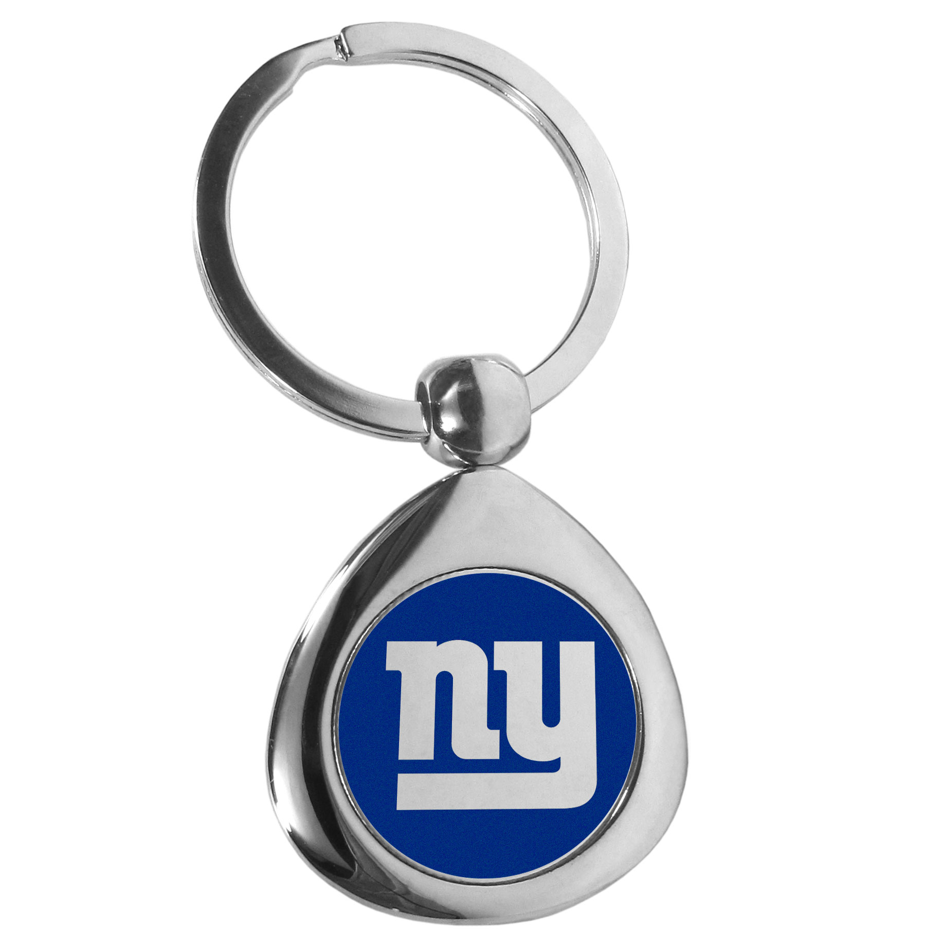 New York Giants Round Teardrop Key Chain - Our high polish chrome New York Giants round teardrop key chain has a classy look with a sporty twist. The high-quality key fob features the team logo in the team's primary color. The key ring is a flat split ring that is easier to load you home and auto keys onto.