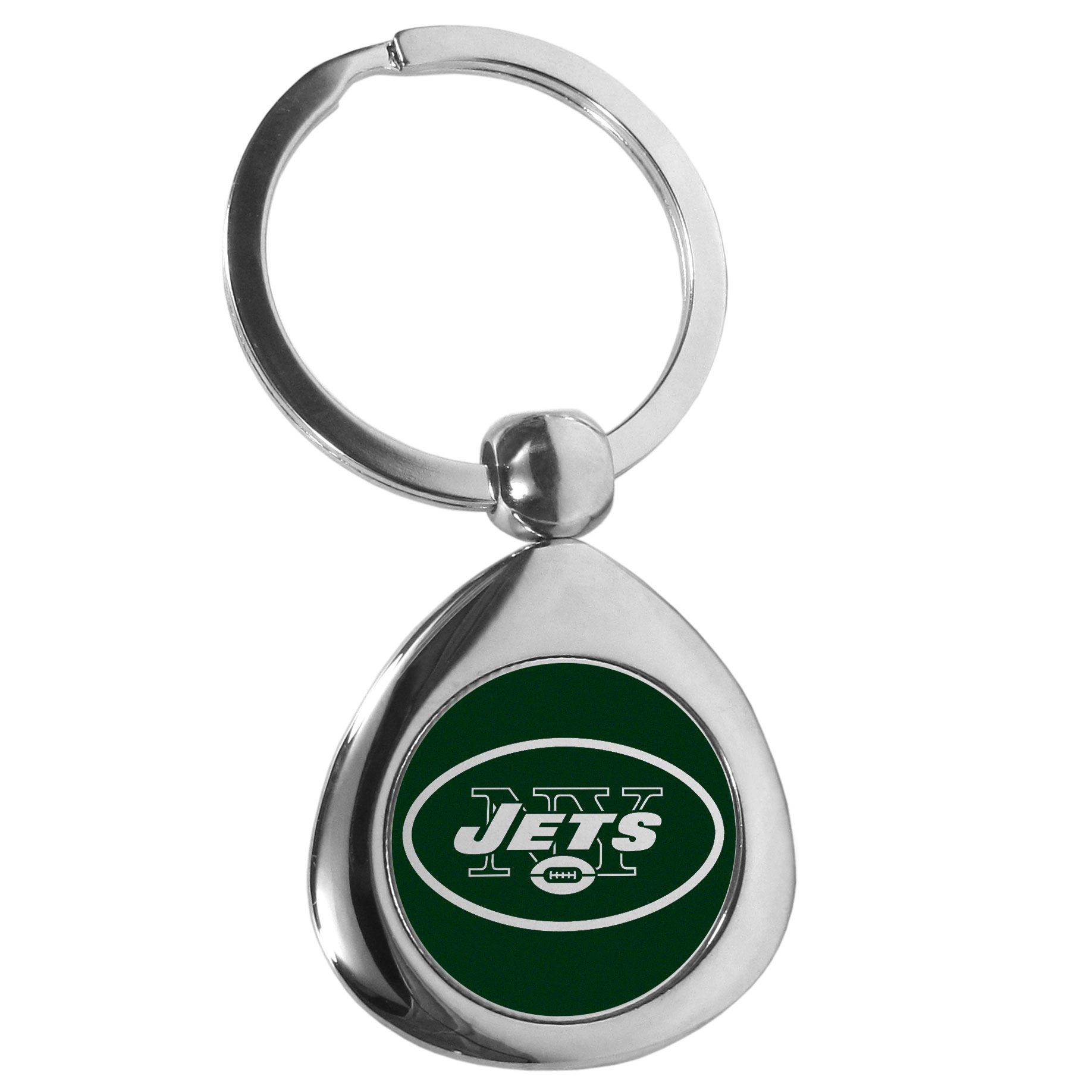 New York Jets Round Teardrop Key Chain - Our high polish chrome New York Jets round teardrop key chain has a classy look with a sporty twist. The high-quality key fob features the team logo in the team's primary color. The key ring is a flat split ring that is easier to load you home and auto keys onto.
