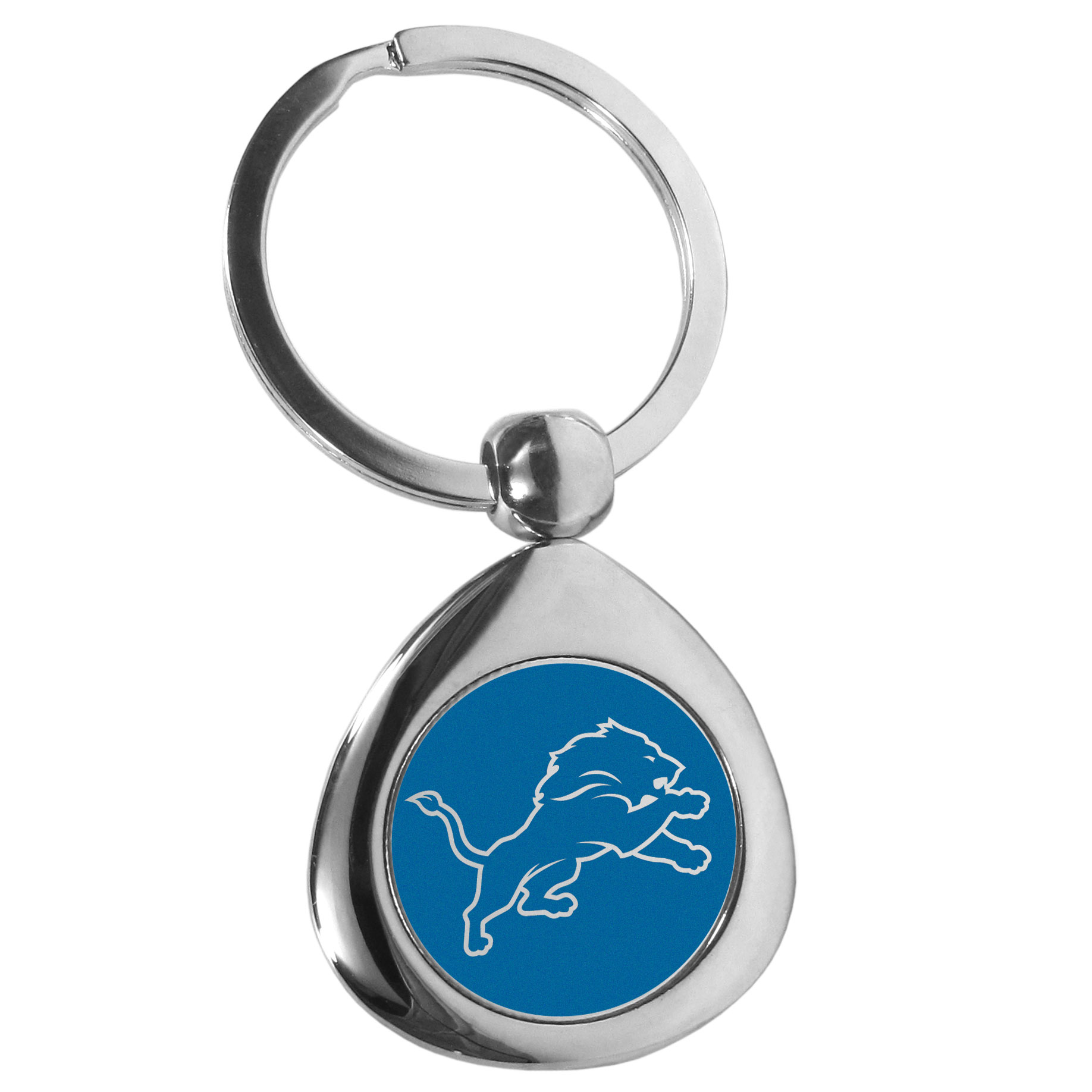 Detroit Lions Round Teardrop Key Chain - Our high polish chrome Detroit Lions round teardrop key chain has a classy look with a sporty twist. The high-quality key fob features the team logo in the team's primary color. The key ring is a flat split ring that is easier to load you home and auto keys onto.