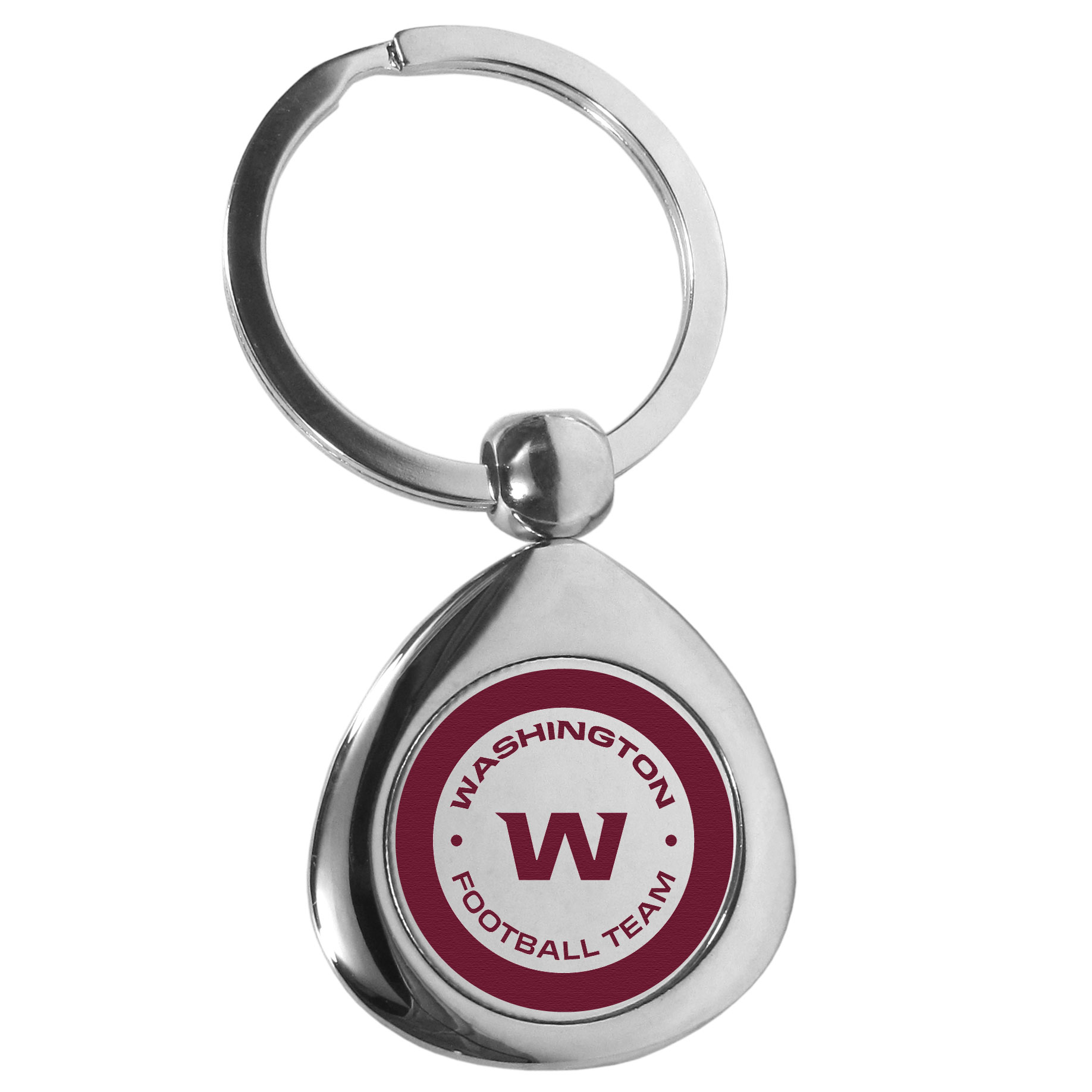 Washington Redskins Round Teardrop Key Chain - Our high polish chrome Washington Redskins round teardrop key chain has a classy look with a sporty twist. The high-quality key fob features the team logo in the team's primary color. The key ring is a flat split ring that is easier to load you home and auto keys onto.