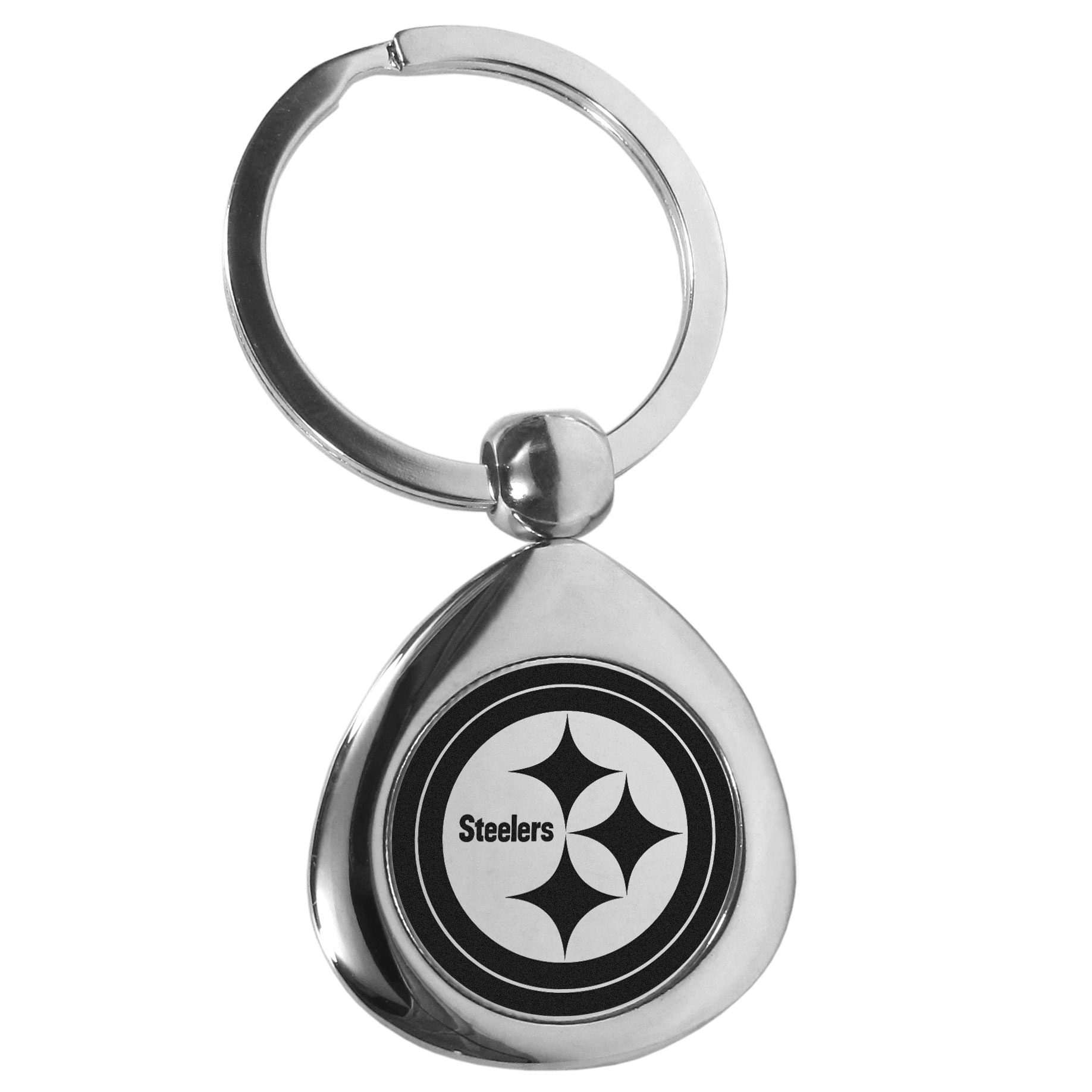 Pittsburgh Steelers Round Teardrop Key Chain - Our high polish chrome Pittsburgh Steelers round teardrop key chain has a classy look with a sporty twist. The high-quality key fob features the team logo in the team's primary color. The key ring is a flat split ring that is easier to load you home and auto keys onto.