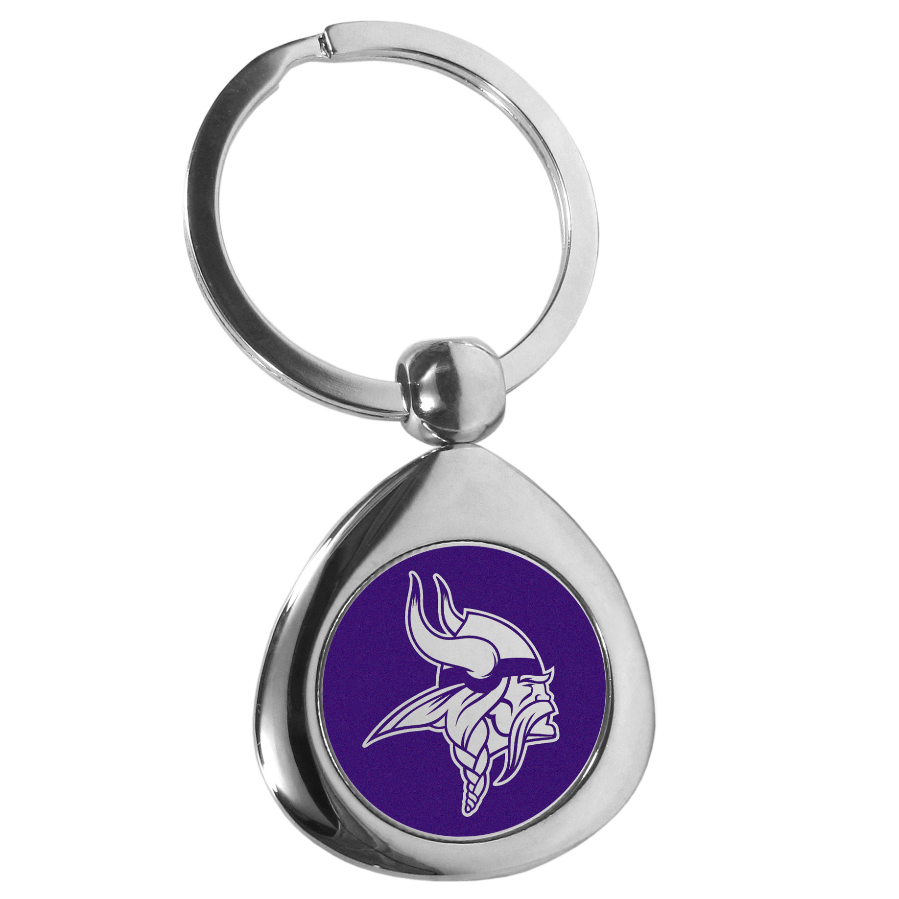 Minnesota Vikings Round Teardrop Key Chain - Our high polish chrome Minnesota Vikings round teardrop key chain has a classy look with a sporty twist. The high-quality key fob features the team logo in the team's primary color. The key ring is a flat split ring that is easier to load you home and auto keys onto.