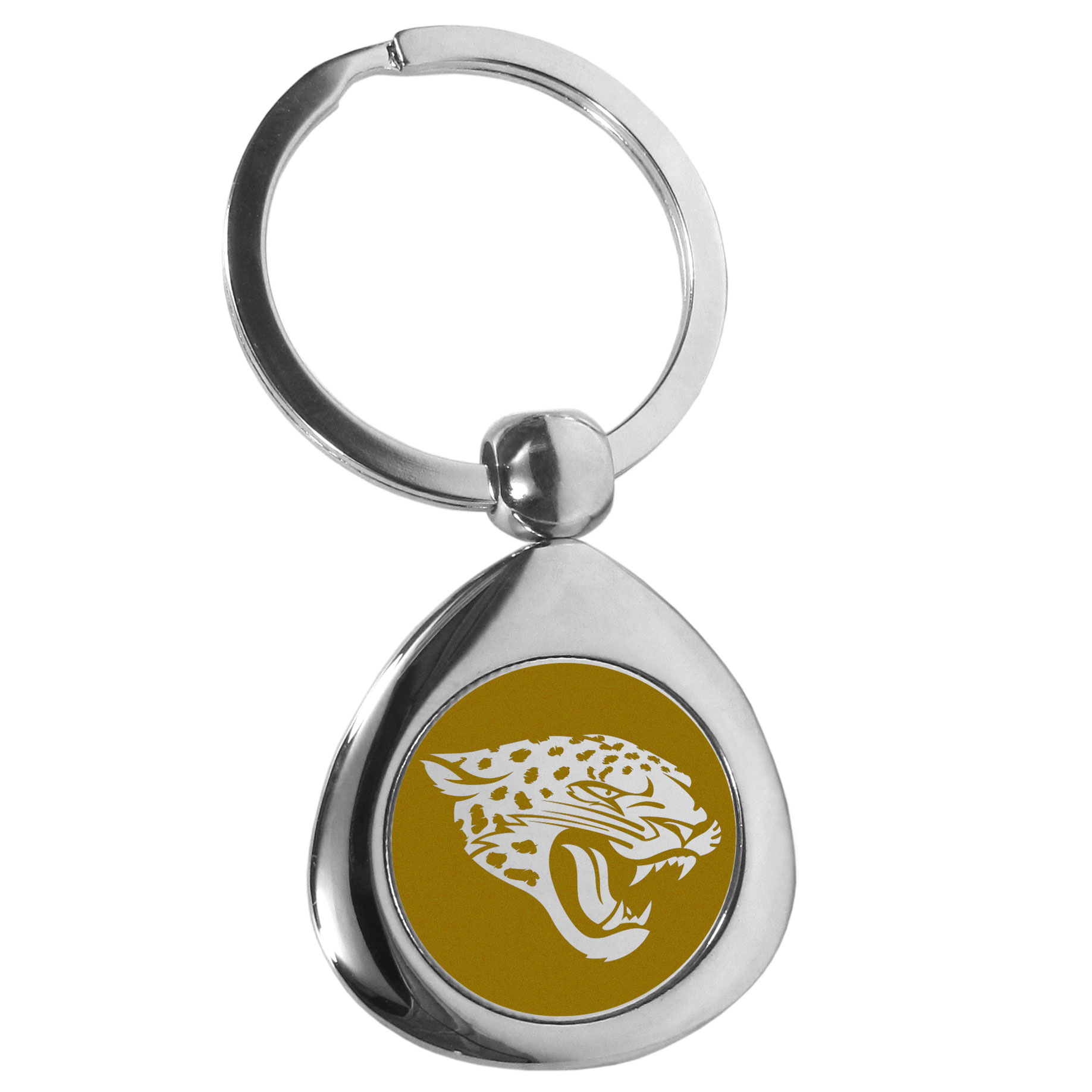 Jacksonville Jaguars Round Teardrop Key Chain - Our high polish chrome Jacksonville Jaguars round teardrop key chain has a classy look with a sporty twist. The high-quality key fob features the team logo in the team's primary color. The key ring is a flat split ring that is easier to load you home and auto keys onto.