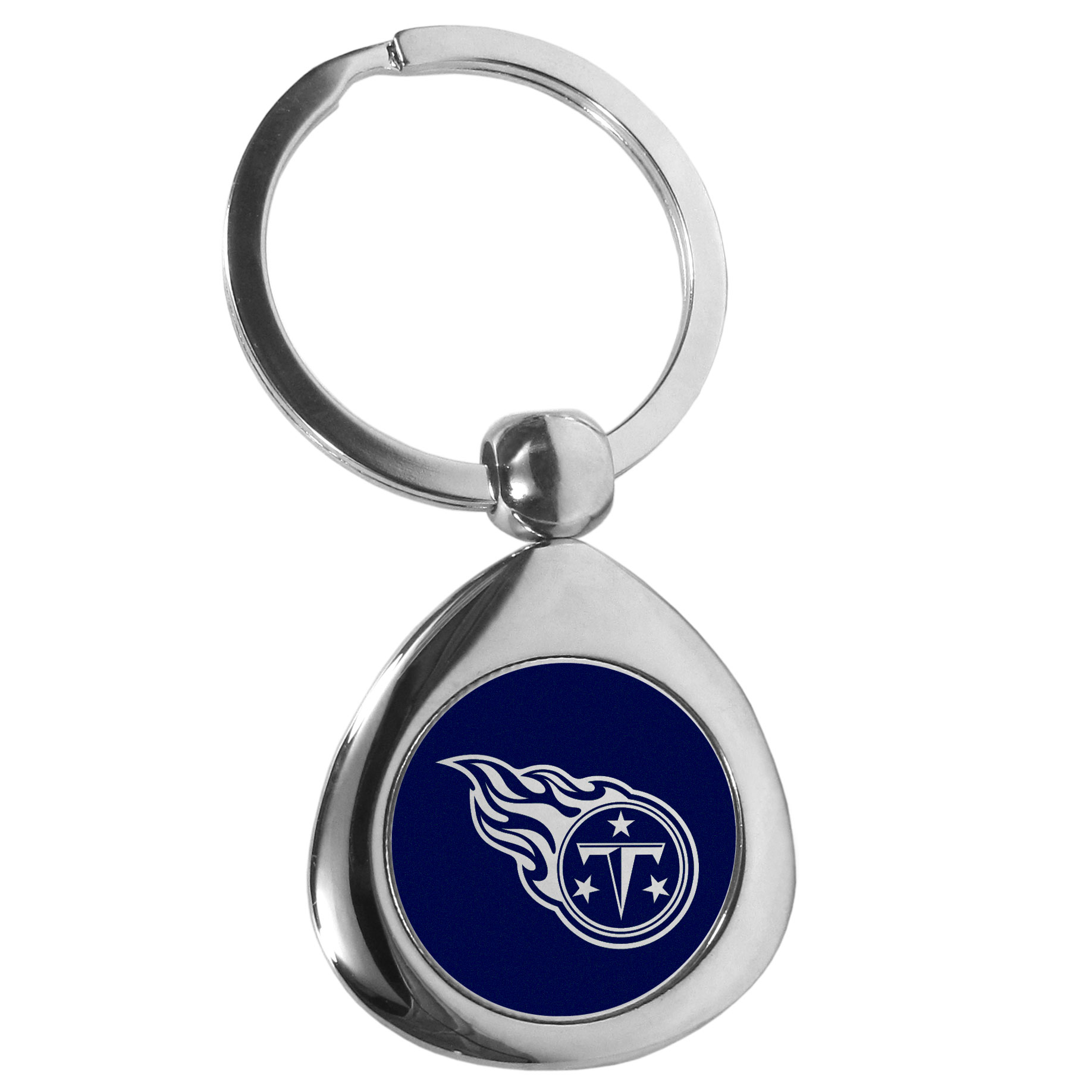 Tennessee Titans Round Teardrop Key Chain - Our high polish chrome Tennessee Titans round teardrop key chain has a classy look with a sporty twist. The high-quality key fob features the team logo in the team's primary color. The key ring is a flat split ring that is easier to load you home and auto keys onto.