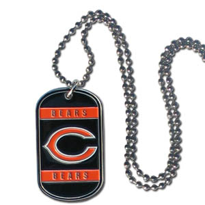"Chicago Bears Tag Necklace - Expertly crafted Chicago Bears tag necklaces featuring fine detailing and a hand enameled finish with chrome accents. 26""Chain.  Officially licensed NFL product Licensee: Siskiyou Buckle .com"