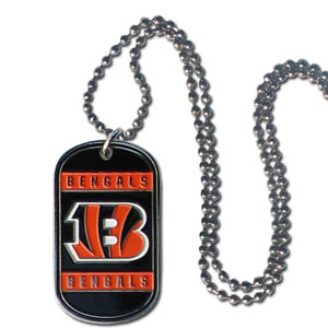 "Cincinnati Bengals Tag Necklace - Expertly crafted Cincinnati Bengals tag necklaces featuring fine detailing and a hand enameled finish with chrome accents. 26""Chain.  Officially licensed NFL product Licensee: Siskiyou Buckle .com"
