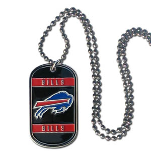 "Buffalo Bills Tag Necklace - Expertly crafted Buffalo Bills tag necklaces featuring fine detailing and a hand enameled finish with chrome accents. 26""Chain.  Officially licensed NFL product Licensee: Siskiyou Buckle .com"