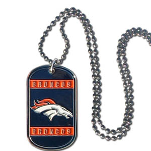 "Denver Broncos Tag Necklace - Expertly crafted Denver Broncos tag necklaces featuring fine detailing and a hand enameled finish with chrome accents. 26""Chain.  Officially licensed NFL product Licensee: Siskiyou Buckle .com"