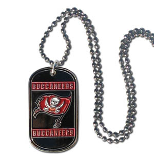 "Tampa Bay Buccaneers Tag Necklace - Expertly crafted Tampa Bay Buccaneers tag necklaces featuring fine detailing and a hand enameled finish with chrome accents. 26""Chain.  Officially licensed NFL product Licensee: Siskiyou Buckle .com"
